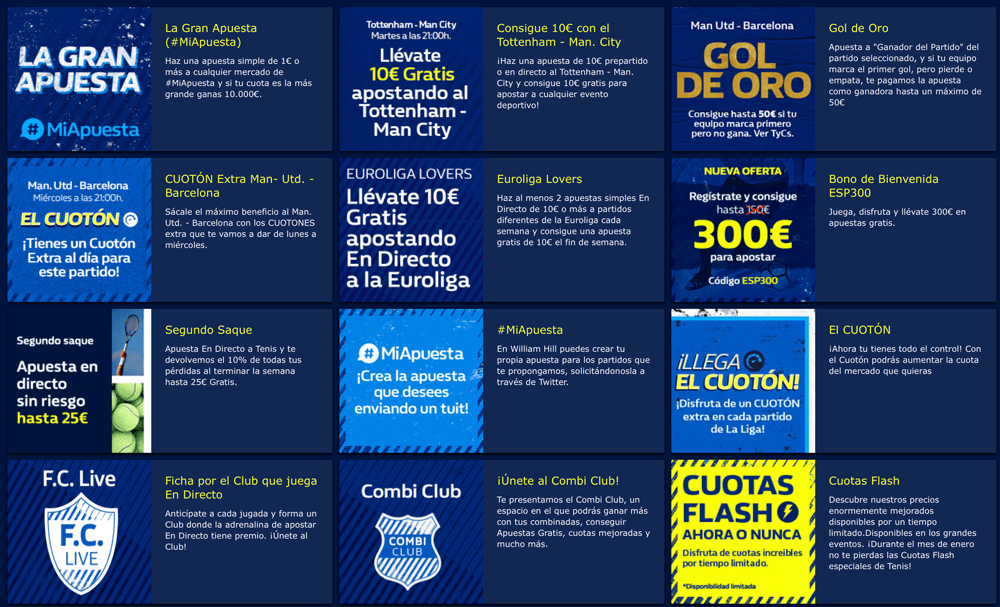 bonos y ofertas de William Hill