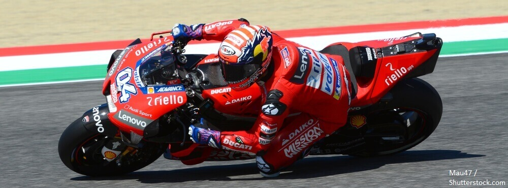Mugello Italy 1 June 2019 Italian Ducati Team rider Andrea Dovizioso in action at 2019 GP of Italy of MotoGP on June 2019 in Italy BANNER