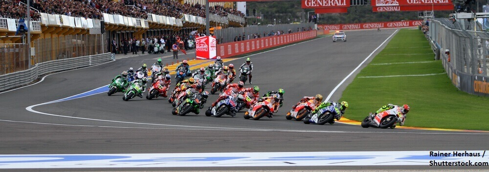 VALENCIA SPAIN NOVEMBER 9 First corner during race at 2014 Generali MotoGP of Valencia on November 9 2014 BANNER