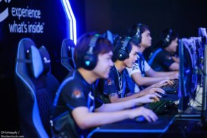 BANGKOK THAILAND 11June 2017 The performance of gaming player competition for Electronic Sports in IntelGameTime Event at Pantip Arena Hall on 11 June 2017 BANGKOKTHAILAND