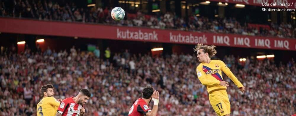 BILBAO SPAIN. August 16th 2019. Basque Country. San Mames. Liga Santander. Athletic Bilbao v FC Barcelona Antoine Griezmann jumps for make a headed shot