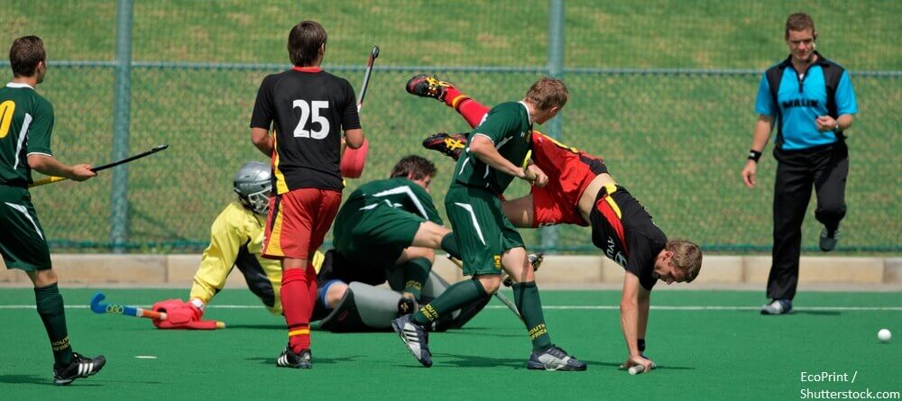 BLOEMFONTEIN SOUTH AFRICA MARCH 14 Players in action during an international mens field hockey game between Germany and South Africa March 14 2009 in Bloemfontein. Germany won 4 3. BANNER