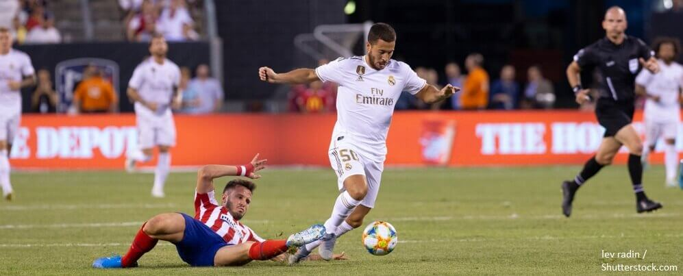 East Rutherford NJ July 26 2019 Eden Hazard 50 of Real Madrid controls ball during game against Atletico Madrid as part of ICC tournament at Metlife stadium Atletico won 7 3 BANNER