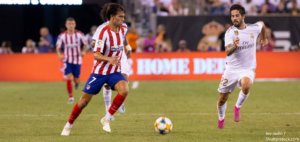 East Rutherford NJ July 26 2019 Joao Felix 7 of Atletico Madrid controls ball game against Real Madrid as part of ICC tournament at Metlife stadium Atletico won 7 3 BANNER