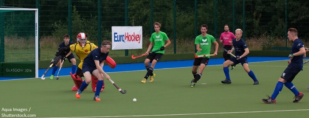 Glasgow Scotland July 23rd 2016. EuroHockey Youth championships held at the Glasgow National Hockey Centre. Warm up match between Scotland and Switzerland U18 men. BANNER