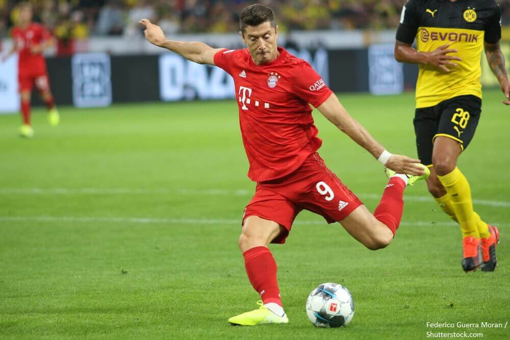 Robert Lewandowski kicks the ball during the match between Bayern Munchen v Borussia Dortmund for the German Supercup final. Dortmund Germany. 3rd August 2019.
