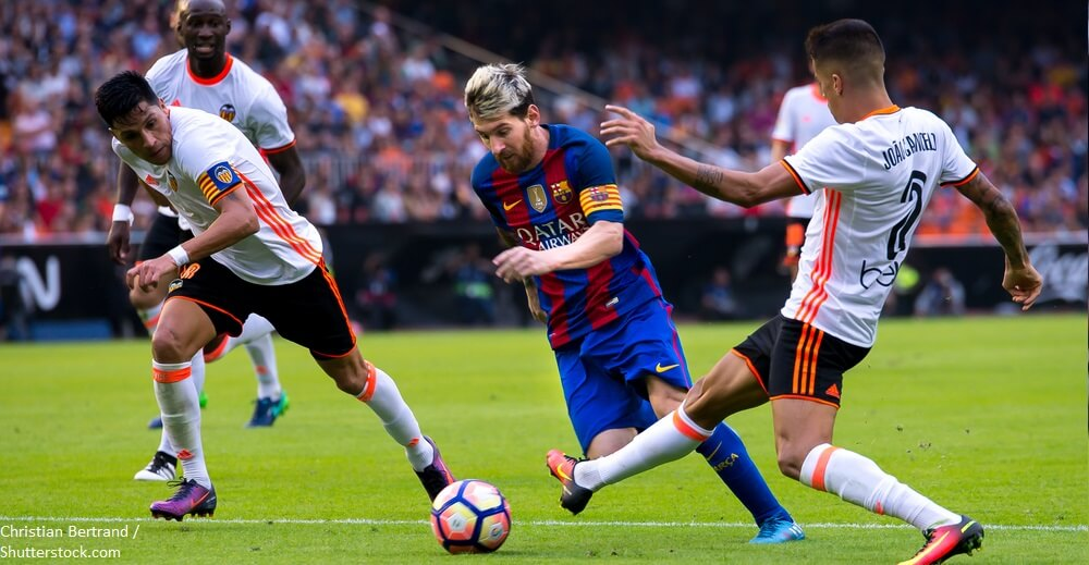 VALENCIA SPAIN OCT 22 Leo Messi plays at the La Liga match between Valencia CF and FC Barcelona at Mestalla on October 22 2016 in Valencia Spain BANNER