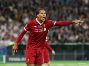 YIV UKRAINE MAY 26 Virgil Van Dijk in action during the UEFA Champions League final match between Real Madrid vs Liverpool FC at the NSC Olimpiyskiy stadium in Kiev on 26 May 2018