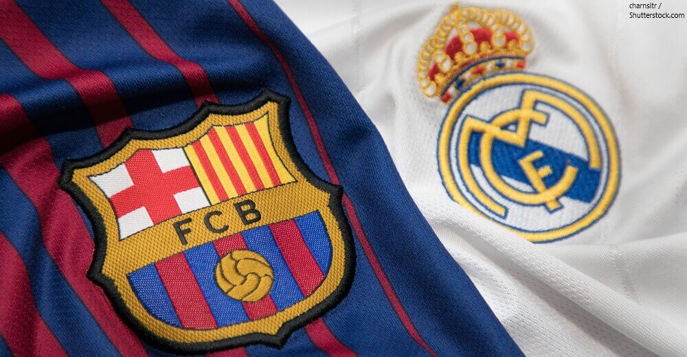 El Clasico Barcelona vs Real Madrid Logos T Shirt BANNER