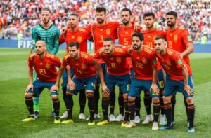 Moscow Russia July 1 2018. Spain national team before FIFA World Cup 2018 Round of 16 match Spain vs Russia.Apuestas Eurocopa 2020 guia completa y Pronosoticos España